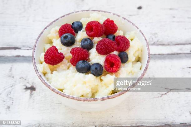 Bowl of Rice Pudding with Berries