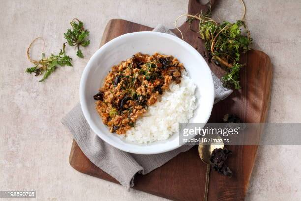 bowl of rice served with mapa tofu and shepherd's purse - mapa stock-fotos und bilder