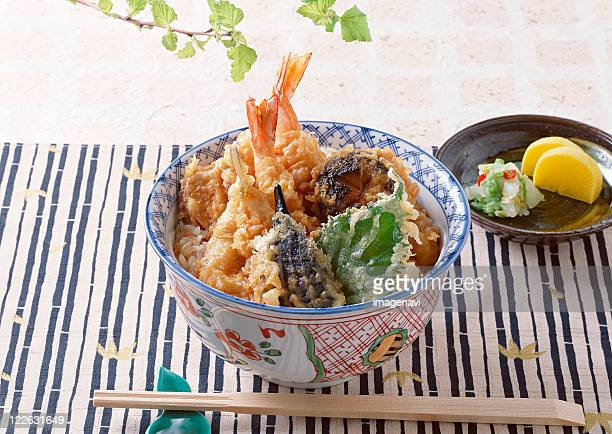bowl of rice with deep-fried fish - shiso stock pictures, royalty-free photos & images