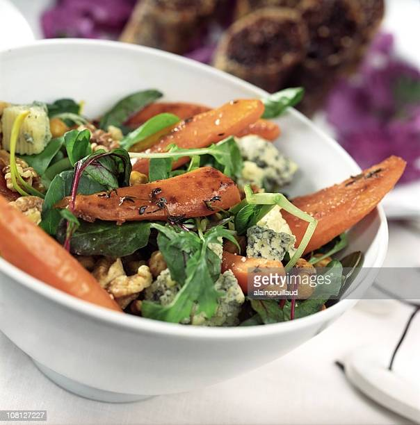 Bowl of Roasted Carrots, Walnuts and Blue Cheese Salad