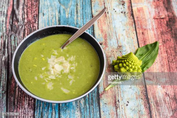 Bowl of romanesco broccoli ramson soup