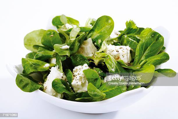 Bowl of salad with feta cheese and vegetables, close-up