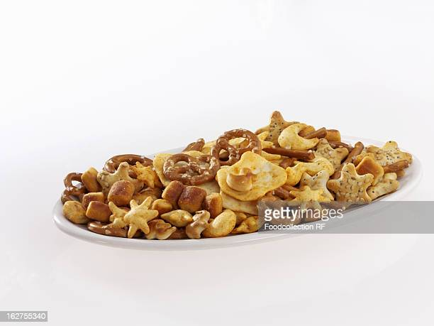 Bowl of salty snacks