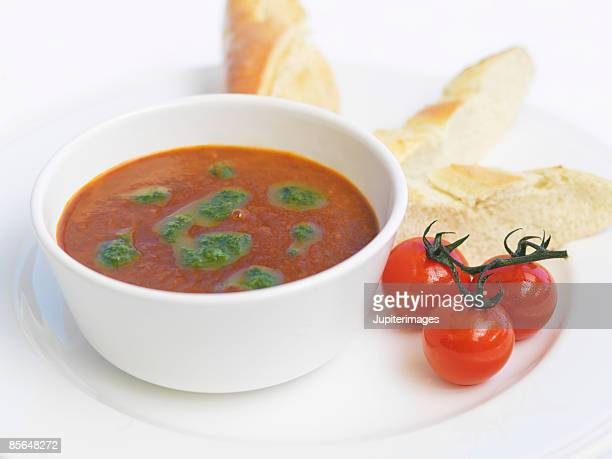 Bowl of soup and cherry tomatoes