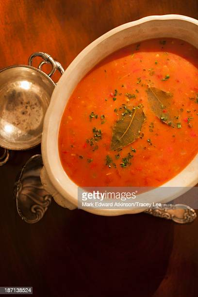 Bowl of soup on table