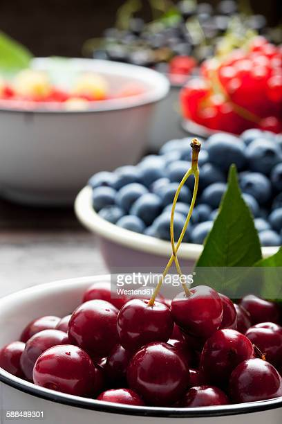 bowl of sour cherries and bowls of different berries in the background - サワーチェリー ストックフォトと画像