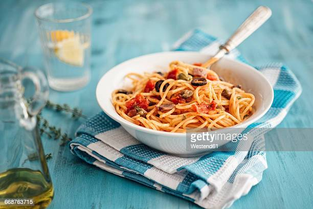 bowl of spaghetti alla pizzaiola - dish towel stock pictures, royalty-free photos & images