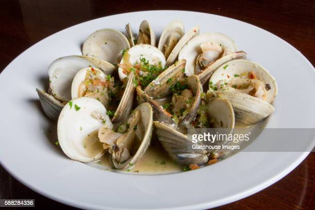 Bowl of Steamed Clams in White Sauce