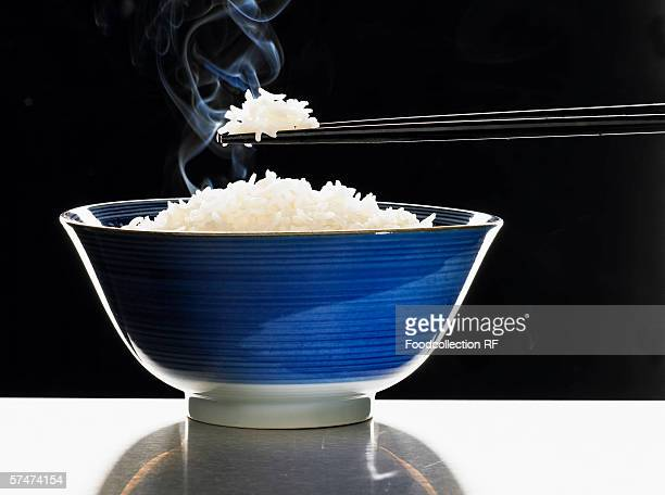A bowl of steaming rice