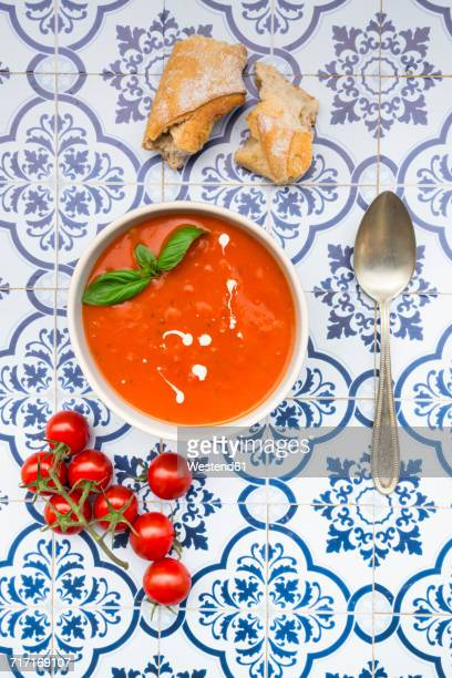 bowl of tomato cream soup - tomato soup stock photos and pictures