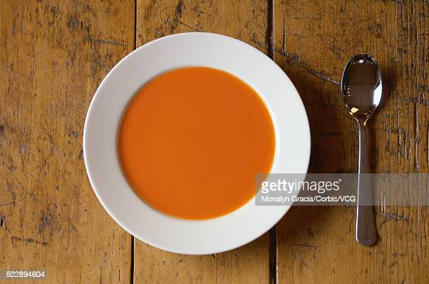 bowl of tomato soup - tomato soup stock photos and pictures
