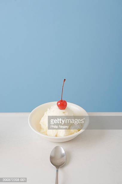 Bowl of vanilla ice cream with cherry on top and spoon