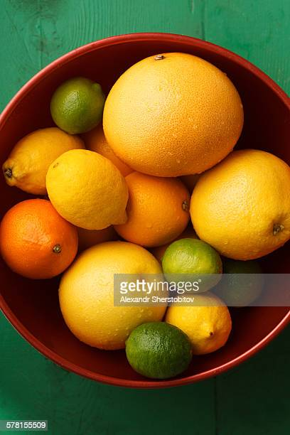 Bowl of various types of citrus fruits