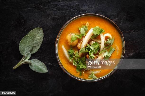 Bowl of vegan carrot sweet potato soup