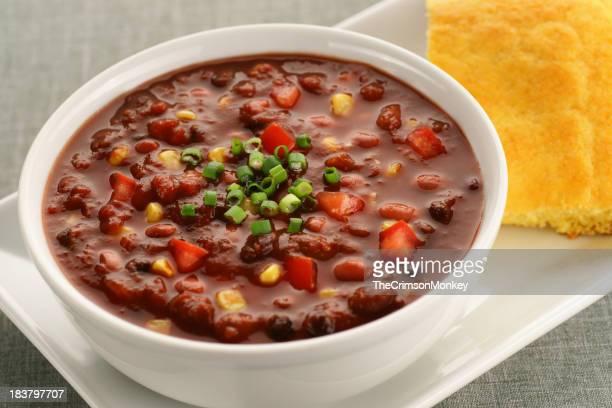 Bowl of Vegan Chili Soup with Cornbread