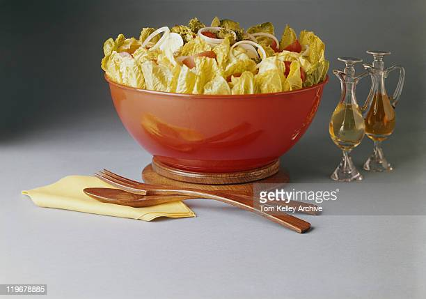bowl of vegetable salad, close-up - cruet stock photos and pictures