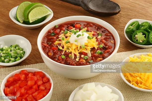 Bowl of Vegetarian Chili with Ingredients