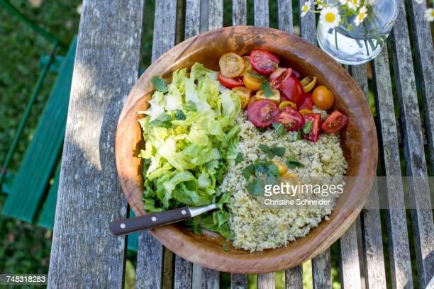 Bowl of vegetarian food
