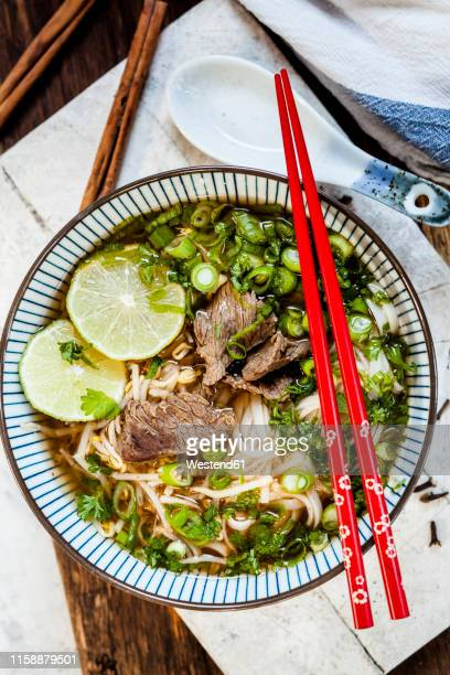 bowl of vietnamese pho with rice noodles, mung beans, cilantro, spring onions and limes - vietnamese culture stock pictures, royalty-free photos & images