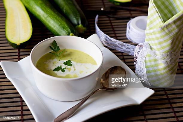 bowl of zucchini potato soup - zucchini stock pictures, royalty-free photos & images