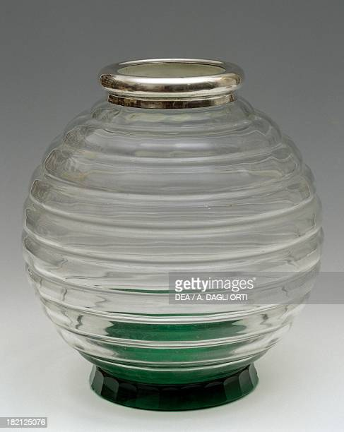 Bowl shaped flower vase in colourless glass opening in silver 19301939 Italy 20th century