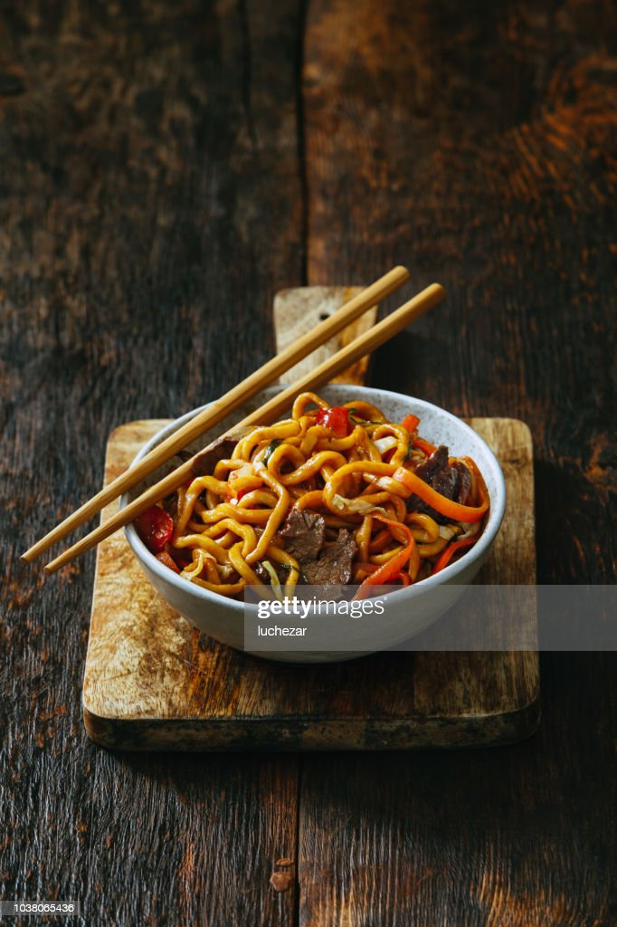 Bowl with chow mein : Stock Photo