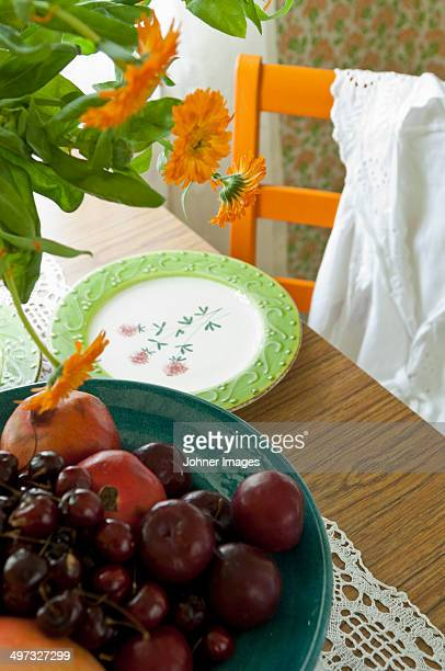 A bowl with fruit and a plate