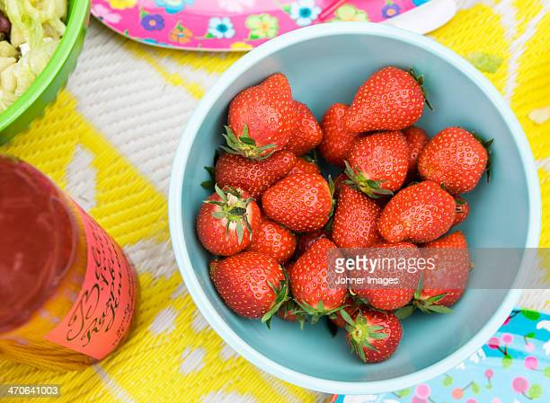 Bowl with strawberries, directly above
