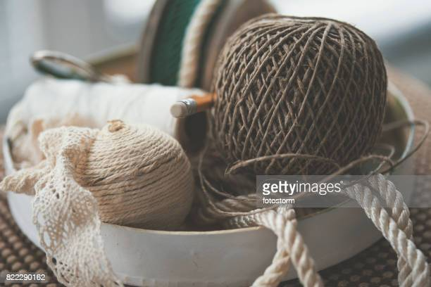 Bowl with various decorative ropes