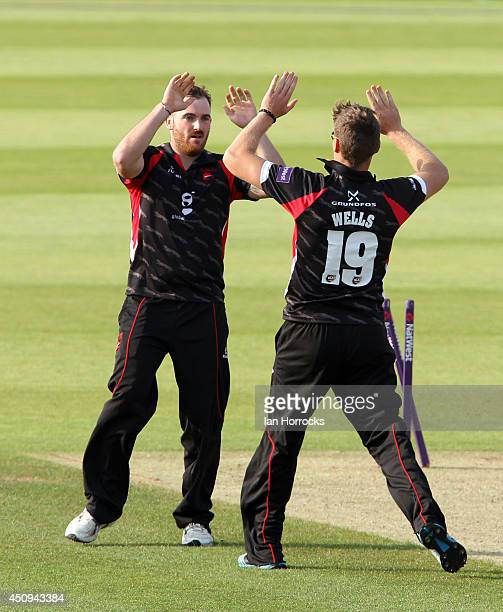 Bowler Ben Raine of Liecestershire Foxes celebrates the run out of Ben Stokes with Tom Waites during The Natwest T20 Blast match between Durham Jets...