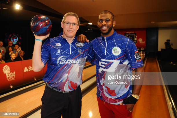 Bowler Chris Barnes and Chris Paul of the LA Clippers pose for a photo at the State Farm CP3 PBA Celebrity Invitational hosted by Los Angeles...