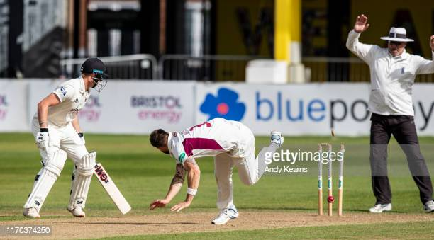 Bowler Doug Bracewell of Northamptonshire runs out George Hankins of Gloucestershire during the Specsavers County Championship Division Two match...
