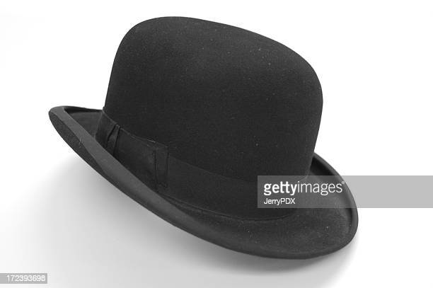 bowler hat - white hat fashion item stock photos and pictures