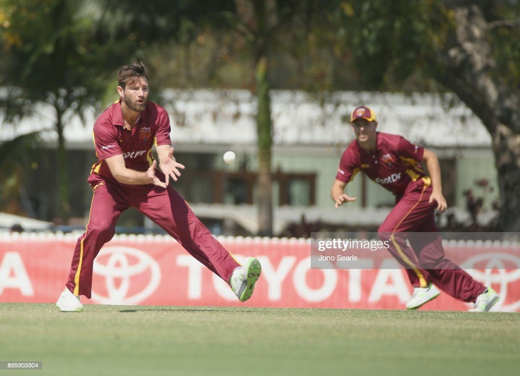 Bowler Michael Neser of QLD fields the ball during the JLT One Day Cup match between Queensland and the Cricket Australia XI at Allan Border Field on September 29, 2017 in Brisbane, Australia.