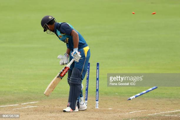 Bowler Shaheen Shan of Pakistan celebrates takes the wicket of Krishan Sanjula of Sri Lanka during the ICC U19 Cricket World Cup match between Sri...