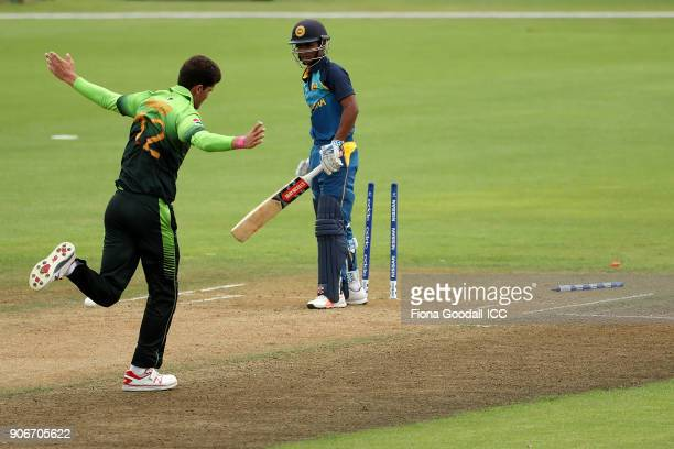 Bowler Shaheen Shan of Pakistan celebrates taking the wicket of Krishan Sanjula of Sri Lanka during the ICC U19 Cricket World Cup match between Sri...