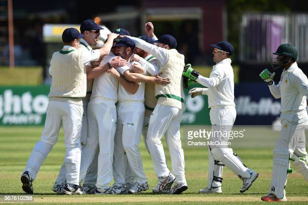 Bowler Tim Murtagh of Ireland celebrates as Ireland take their second wicket during the Ireland v Pakistan test cricket match on May 12 2018 in...