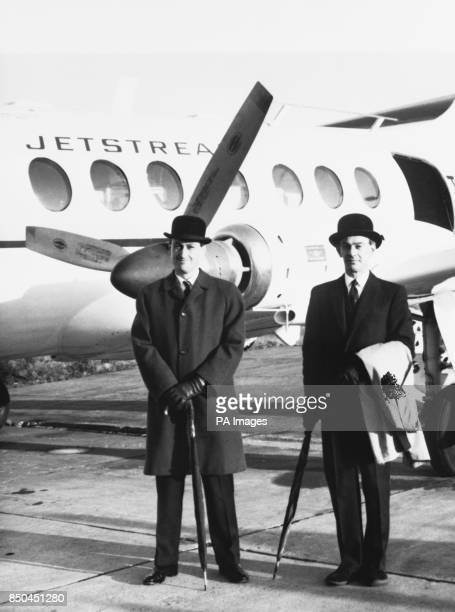 Bowlerhatted Handley Page chief test pilot JW Allam of Fyfield Lodge Kings Langley Hertfordshire and another Handley Page test pilot GH Moreau of...