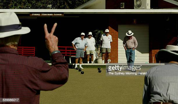 Bowlers play on the Jimmy Sharman green at Randwick Bowling Club on 5 may 2006. Sharman died last week. SMH NEWS Picture by SAHLAN HAYES