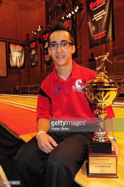 14th Teen Masters Championships Portrait of Zack Hattori victorious with Boys High School Champion trophy after winning tournament in Vanderbilt Hall...