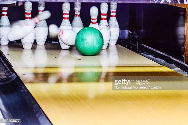Bowling Ball Knocking Over Skittles