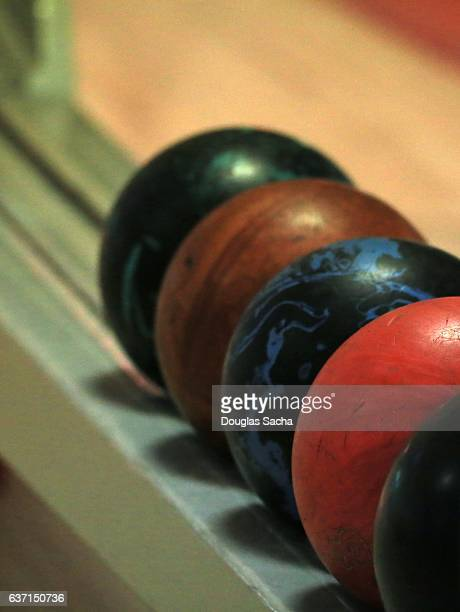 Bowling Balls lined up at the Bowling Alley
