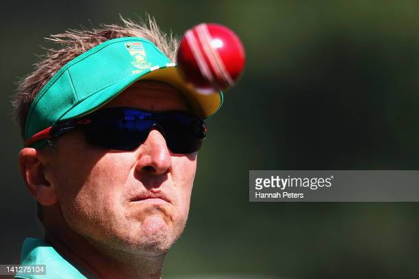 Bowling coach Allan Donald catches a ball in the nets during a training session at Seddon Park on March 14 2012 in Hamilton New Zealand