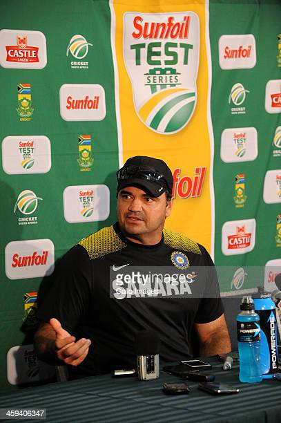 Bowling coach Joe Dawes of India speaks to the media during a press conference on day 1 of the 2nd Test match between South Africa and India at...