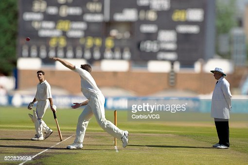Bowling during a cricket match