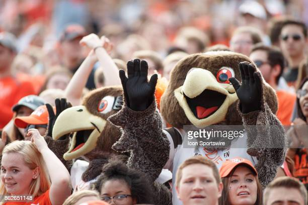 Bowling Green Falcons mascots Freddie and Frieda Falcon cheer with the fans in the first half of a game between the Ohio Bobcats and the Bowling...