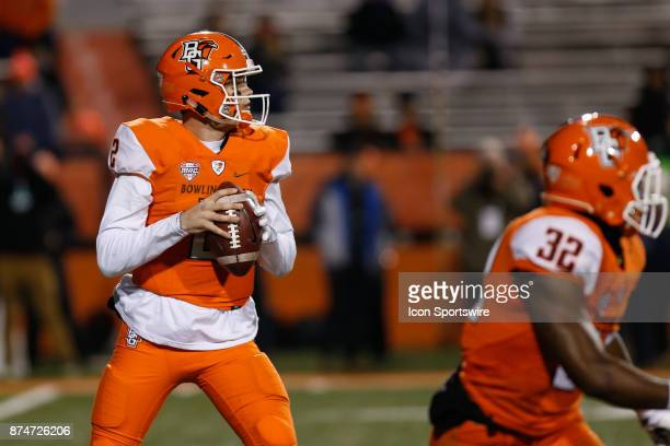 Bowling Green Falcons quarterback Jarret Doege looks for an open receiver during first half game action between the Toledo Rockets and the Bowling...