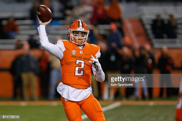 Bowling Green Falcons quarterback Jarret Doege throws a pass during first half game action between the Toledo Rockets and the Bowling Green Falcons...