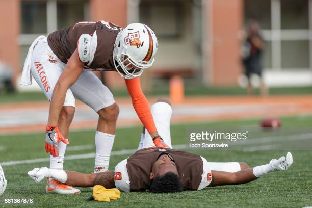 Bowling Green Falcons wide receiver Teo Redding was hit hard in the helmet in the first half of a game between the Ohio Bobcats and the Bowling Green...