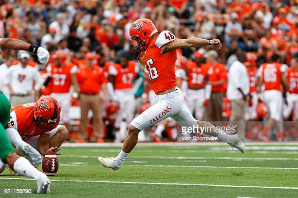 Bowling Green kicker Jake Suder kicks a field goal during game action between the North Dakota Fighting Hawks and the Bowling Green Falcons on...